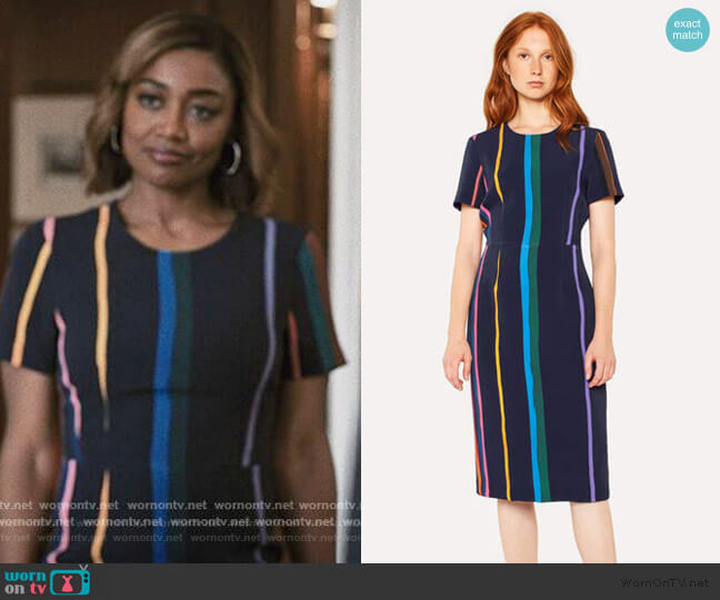 Brush Stripe Print Sheath Dress by Paul Smith worn by Daisy Grant (Patina Miller) on Madam Secretary