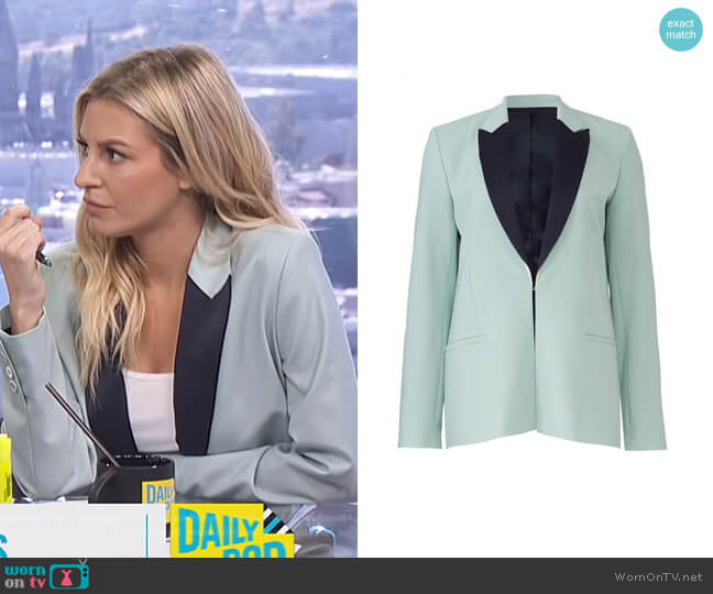 Peak lapels wool blazer by Victoria Victoria Beckham worn by Morgan Stewart  on E! News