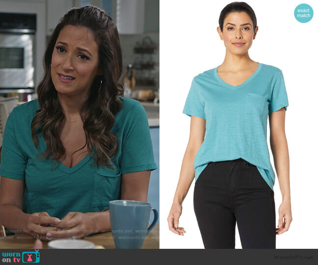Neck Pocket Cotton Tee by Pendleton worn by Colleen Brandon-Ortega (Angelique Cabral) on Life in Pieces