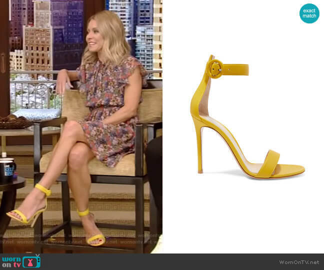 Portofino Leather Sandals by Gianvito Rossi  worn by Kelly Ripa (Kelly Ripa) on Live with Kelly & Ryan