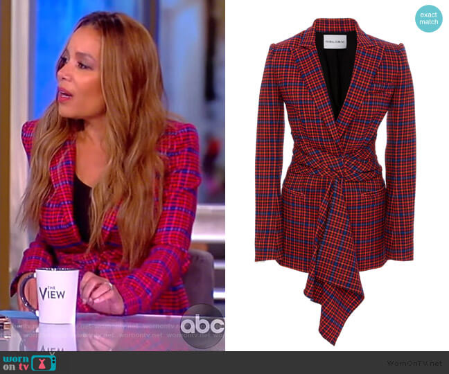 Ghar Wrap-Front Plaid Blazer by Prabal Gurung worn by Sunny Hostin  on The View
