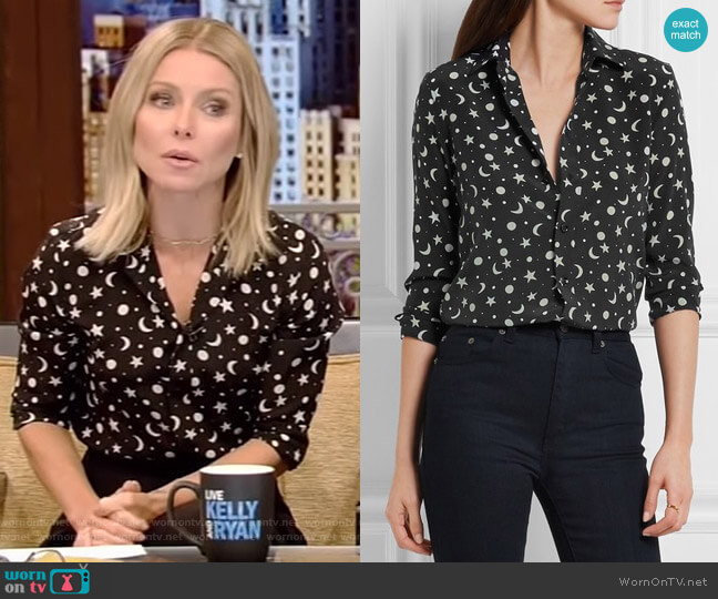 Print Silk Crepe De Chine Shirt by Saint Laurent worn by Kelly Ripa  on Live with Kelly & Ryan