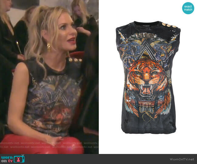 Printed Cotton T-Shirt by Balmain worn by Dorit Kemsley  on The Real Housewives of Beverly Hills