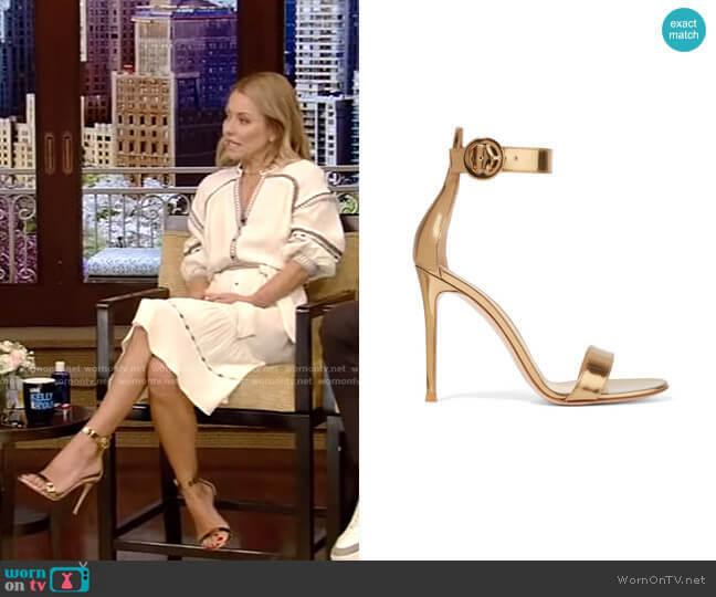 Portofino Metallic Leather Sandals by Gianvito Rossi worn by Kelly Ripa (Kelly Ripa) on Live with Kelly & Ryan