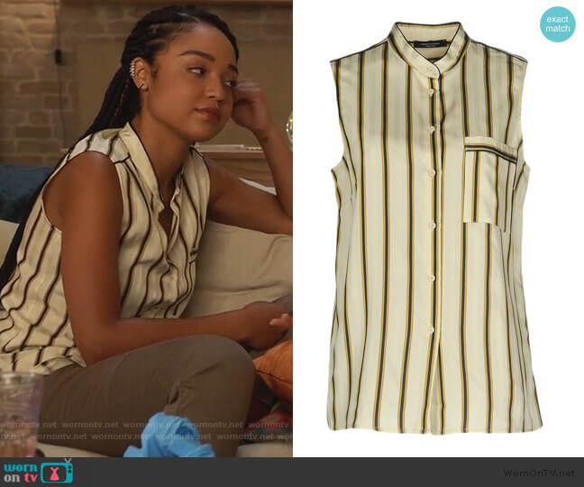 Striped Shirt by Roberto Collina worn by Kat Edison (Aisha Dee) on The Bold Type