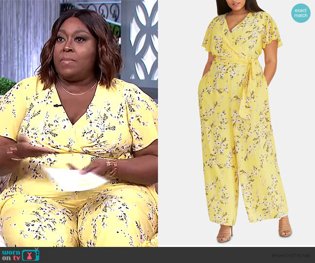 Floral-Print Faux-Wrap Jumpsuit by RACHEL Rachel Roy worn by Loni Love  on The Real