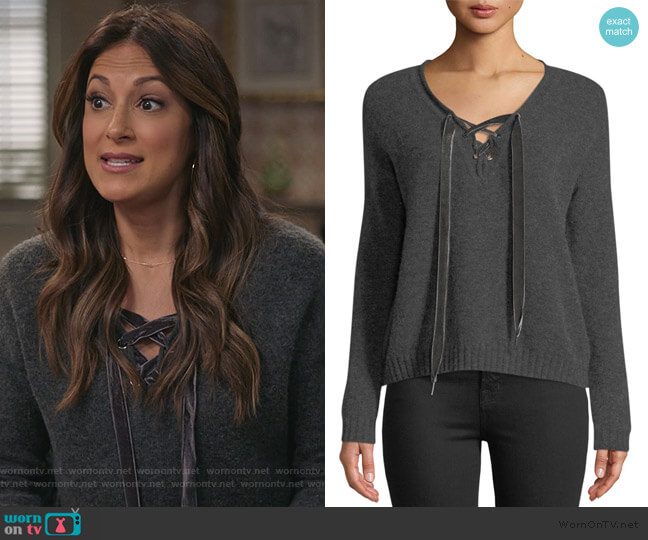 Amelia Lace-Up Sweater by Rails worn by Colleen Brandon-Ortega (Angelique Cabral) on Life in Pieces
