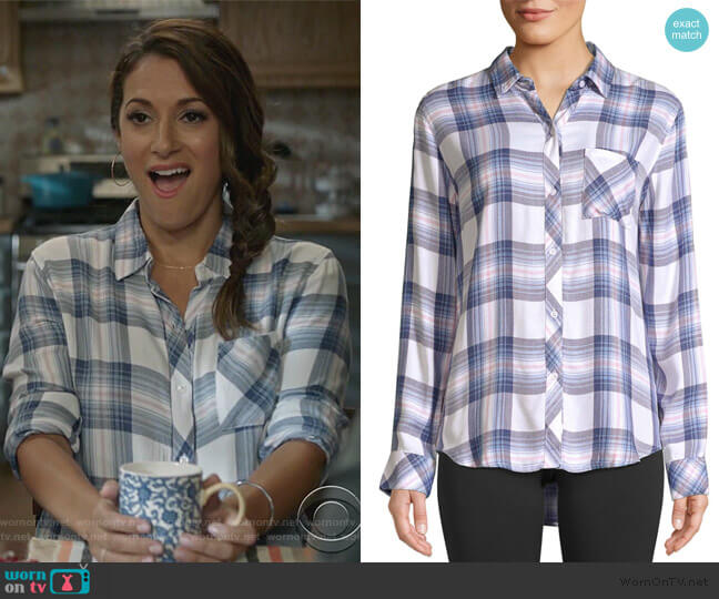 Hunter Plaid Button-Down Shirt by Rails worn by Colleen Brandon-Ortega (Angelique Cabral) on Life in Pieces