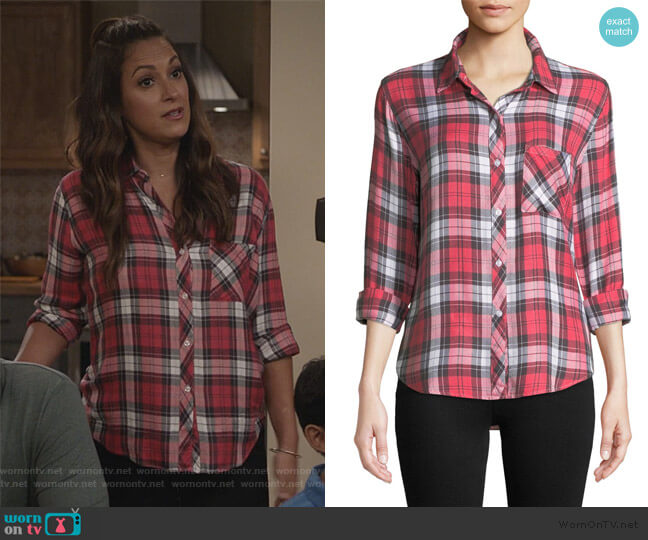Hunter Plaid Long-Sleeve Button-Front Top by Rails worn by Colleen Brandon-Ortega (Angelique Cabral) on Life in Pieces