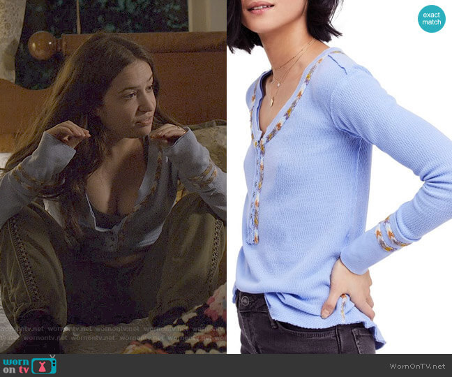 Free People Rainbow Thermal Tee worn by Becca Gelb (Gideon Adlon) on The Society