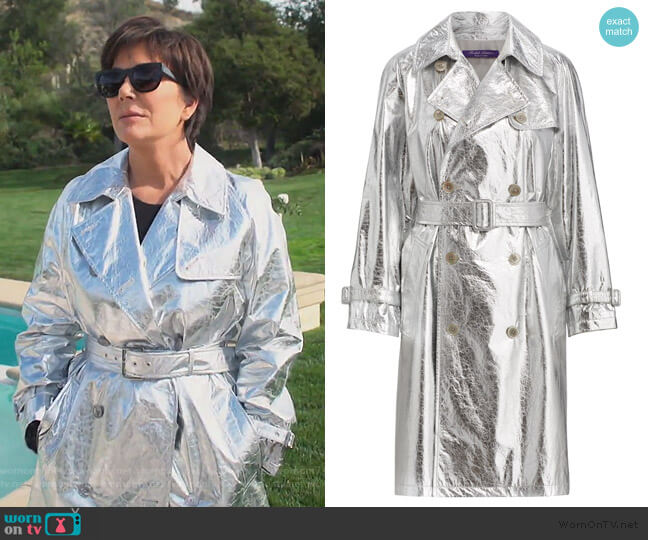 Jayne Metallic Leather Trench by Ralph Lauren Collection worn by Kris Jenner  on Keeping Up with the Kardashians