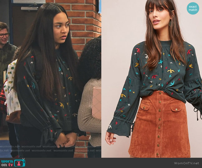 Egret-Embroidered Top by Ranna Gill worn by Xuan (Tiana Le) on No Good Nick