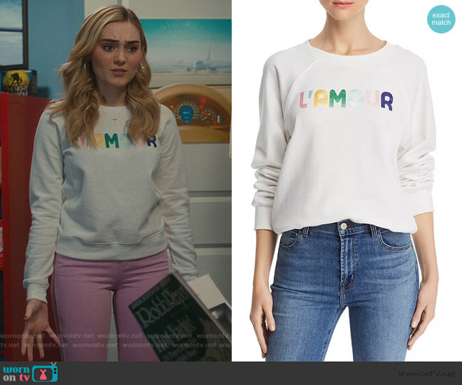 L'Amour Sweatshirt by Rebecca Minkoff worn by Taylor Otto (Meg Donnelly) on American Housewife