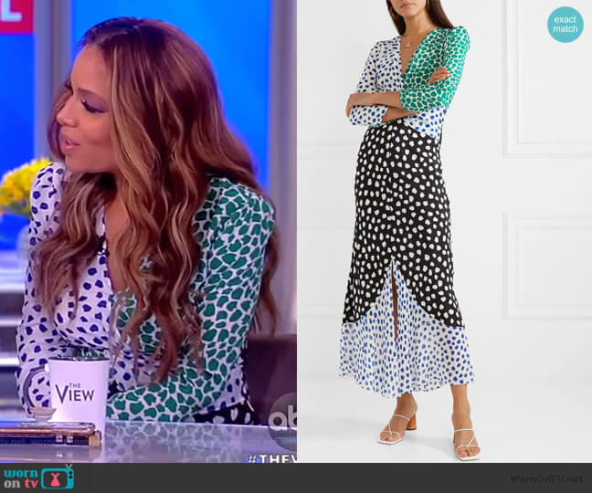 Chelsea Dot-Print Midi Dress by Rixo worn by Sunny Hostin (Sunny Hostin) on The View