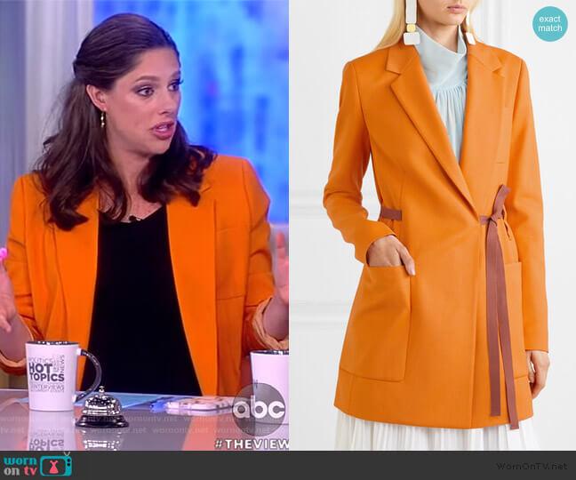 Belted grain de poudre blazer by Roksanda worn by Abby Huntsman  on The View