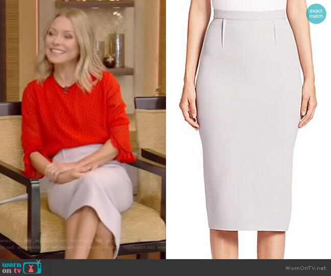 Arreton Wool Pencil Skirt by Roland Mouret worn by Kelly Ripa  on Live with Kelly & Ryan