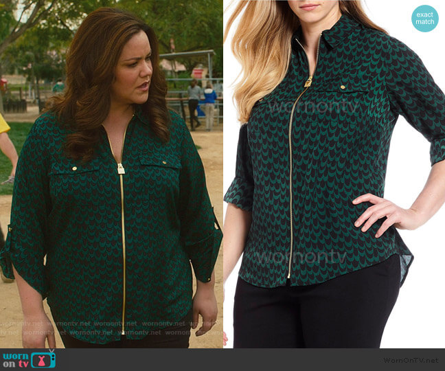 Print Roll-Sleeve Lock-Tag Zip by MICHAEL Michael Kors worn by Katie Otto (Katy Mixon) on American Housewife