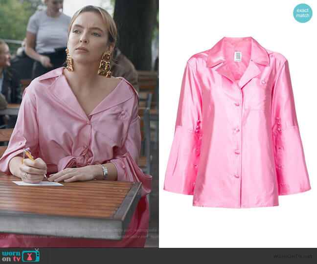 Peek-a-Boo Silk Blouse by Rosie Assoulin worn by Villanelle (Jodie Comer) on Killing Eve