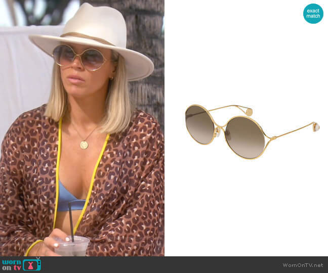 Round Forked Metal Sunglasses by Gucci worn by Teddi Mellencamp Arroyave  on The Real Housewives of Beverly Hills