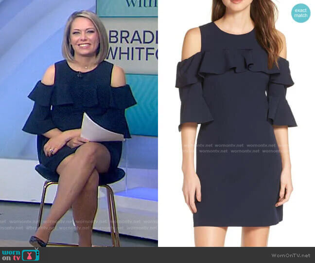 Ruffle Cold Shoulder Shift Dress by Eliza J worn by Dylan Dreyer  on Today