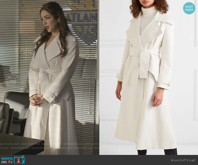 Belted Faux Leather Trench Coat by Sara Battaglia worn by Fallon Carrington (Elizabeth Gillies) on Dynasty