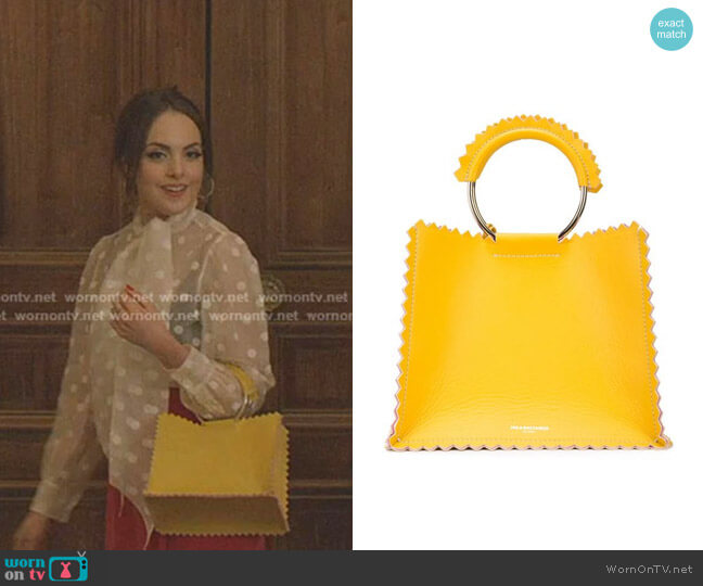 Helen Tote Bag by Sara Battaglia worn by Fallon Carrington (Elizabeth Gillies) on Dynasty