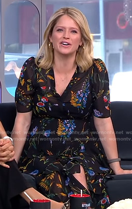 Sara's black floral midi dress on GMA Strahan And Sara