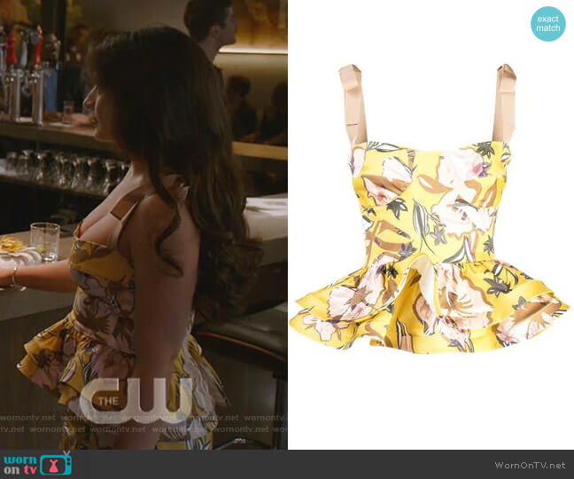 Junquillo top by Silvia Tcherassi worn by Cristal Jennings (Daniella Alonso) on Dynasty