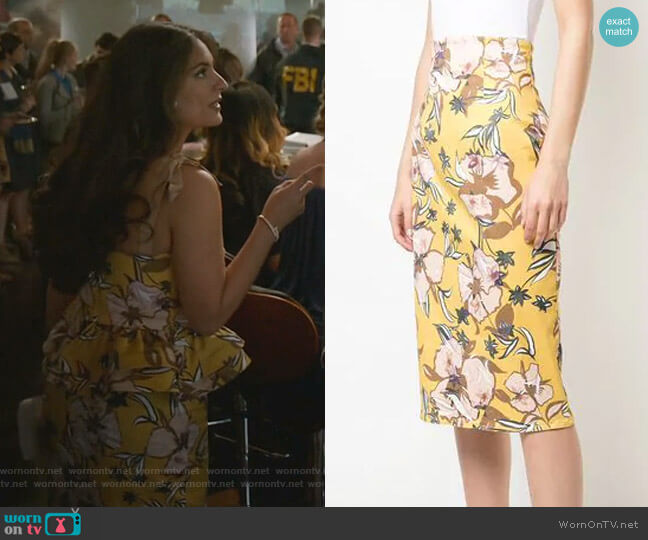 Mariola Floral Skirt by Silvia Tcherassi worn by Cristal Jennings (Daniella Alonso) on Dynasty