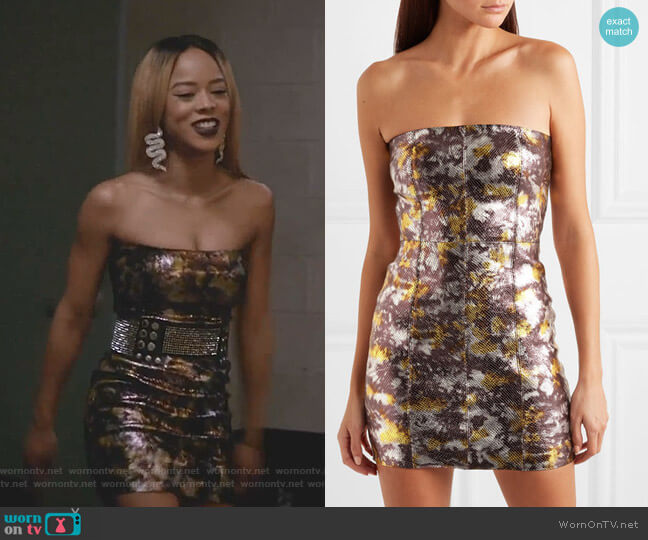 Metallic Snake-Effect Leather Mini Dress by Sprwmn worn by Tiana Brown (Serayah McNeill) on Empire