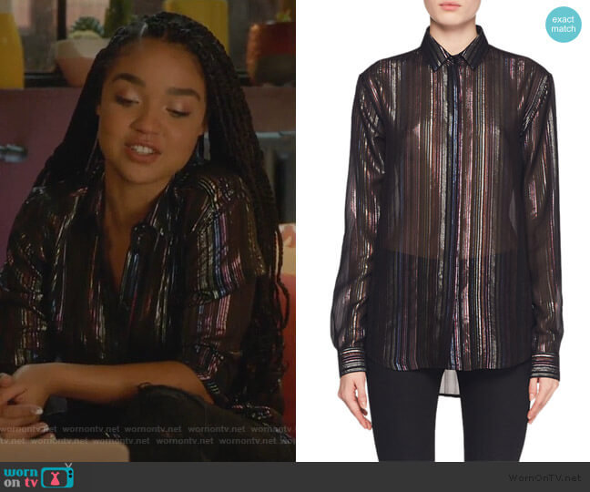 Multicolor Metallic-Striped Blouse by Saint Laurent worn by Kat Edison (Aisha Dee) on The Bold Type