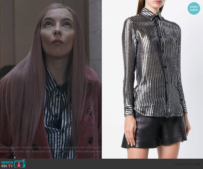 semi-sheer striped shirt by Saint Laurent worn by Villanelle (Jodie Comer) on Killing Eve