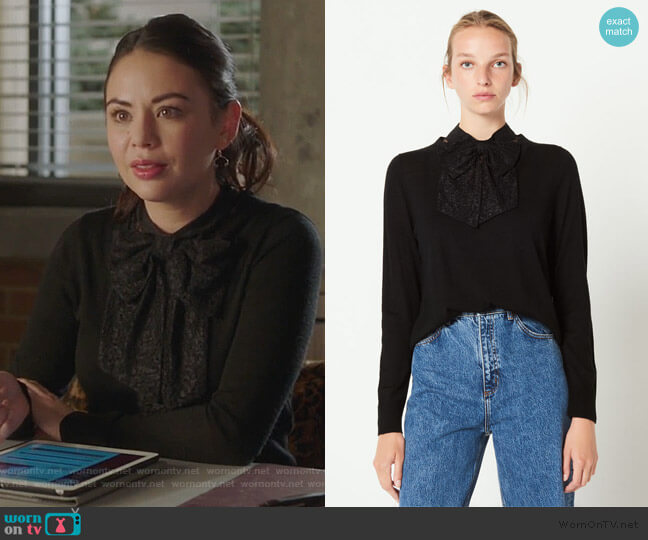 Knit Sweater Decorated with Bow by Sandro worn by Mona Vanderwaal (Janel Parrish) on PLL The Perfectionists