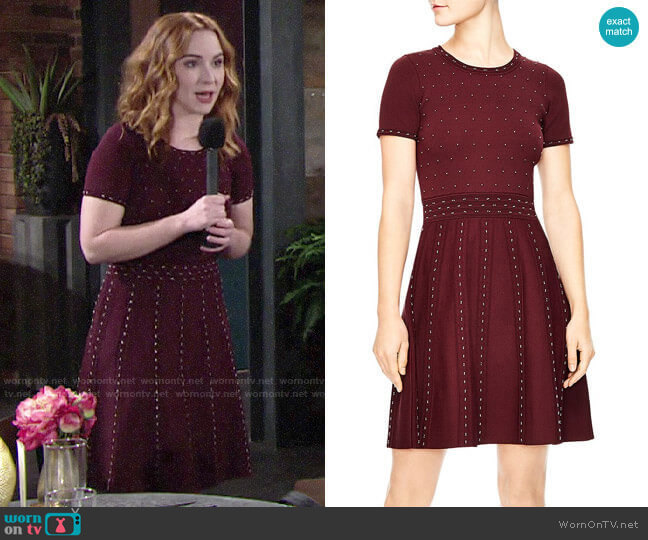 Sandro Montaigne Studded Knit Dress worn by Mariah Copeland (Camryn Grimes) on The Young & the Restless