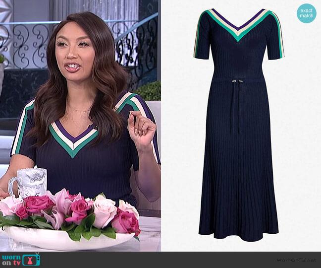 Sportswear stretch-knit midi dress by Sandro worn by Jeannie Mai  on The Real