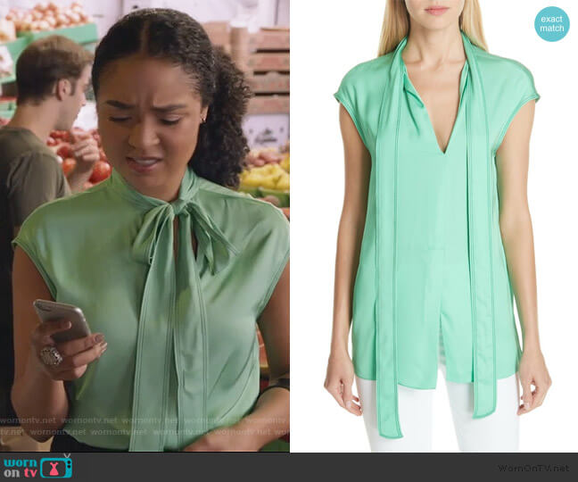 Tie Neck Blouse by Sandro worn by Kat Edison (Aisha Dee) on The Bold Type