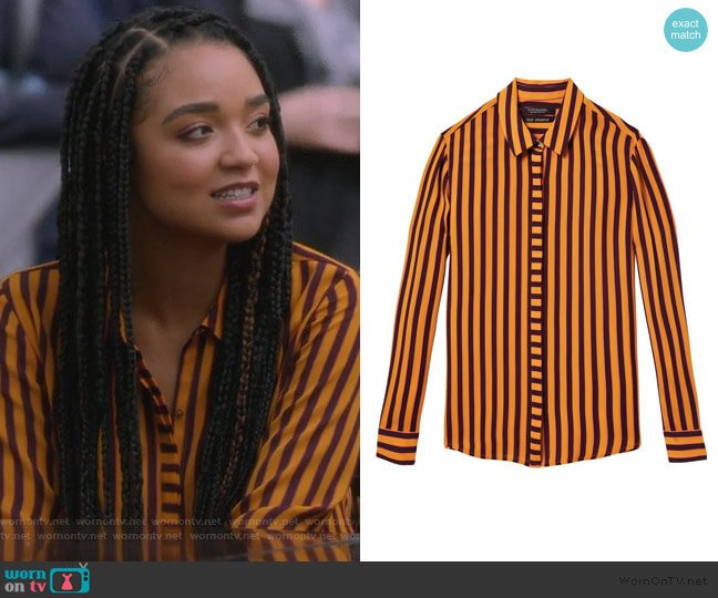 Draped Shirt by Scotch & Soda worn by Kat Edison (Aisha Dee) on The Bold Type