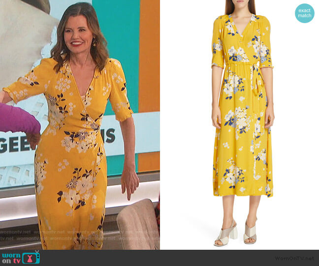 Pia Floral Faux Wrap Midi Dress by Sea worn by Geena Davis on The Talk