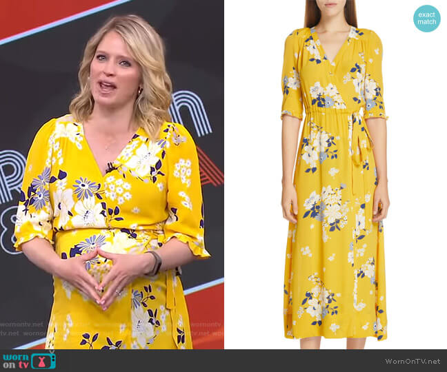 Pia Floral Faux Wrap Midi Dress by Sea worn by Sara Haines  on Good Morning America