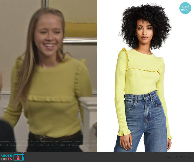 Fitted Ruffle Sweater by See by Chloe worn by Samantha Hughes (Holly Barrett) on Life in Pieces