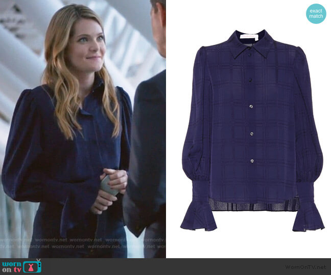 Plaid Crepe Shirt by See by Chloe worn by Sutton (Meghann Fahy) on The Bold Type