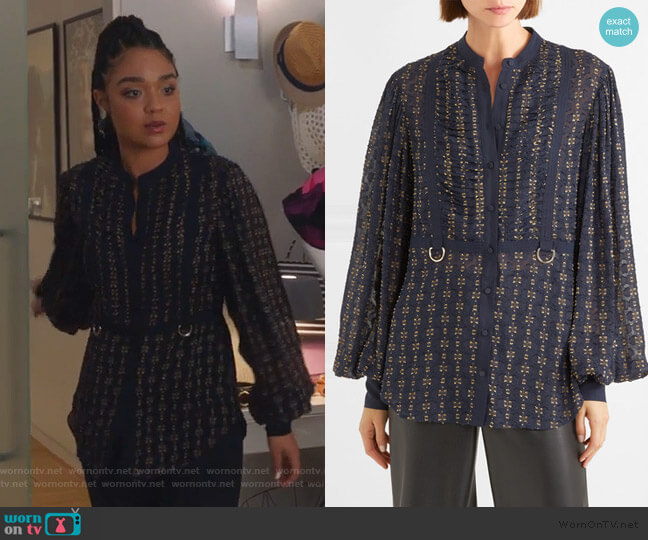 Fil coupé chiffon blouse by Self Portrait worn by Kat Edison (Aisha Dee) on The Bold Type