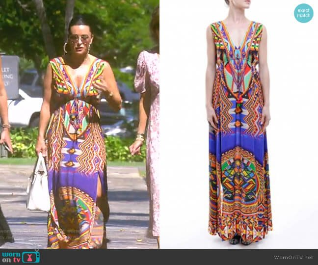 Multi-Color Boho Summer Maxi Dress with Slit by Shahida Parides worn by Kyle Richards  on The Real Housewives of Beverly Hills