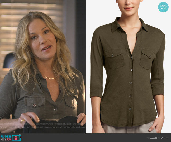Sheer Slub Side Panel Shirt by James Perse worn by Jen Harding (Christina Applegate) on Dead to Me