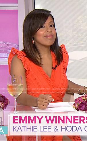 Sheinelle's orange eyelet wrap dress on Today