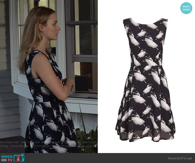 Retro Novelty Ballerina Printed A-Line Dress by Sidecca worn by Elle (Olivia DeJone) on The Society