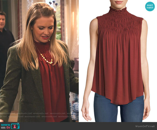 Smocked High-Neck Sleeveless Top by Frame worn by Liz (Melissa Joan Hart) on No Good Nick