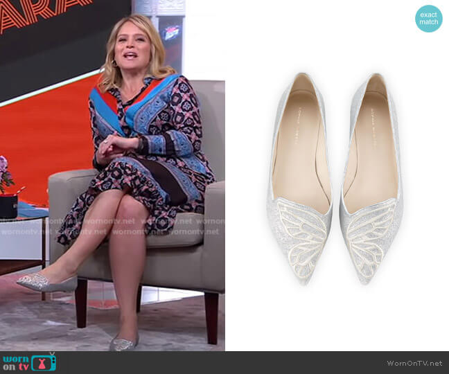 Bibi Glitter Butterfly Flats by Sophia Webster worn by Sara Haines  on Good Morning America