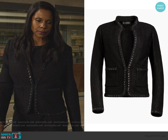 Adina Knit Jacket by St. John worn by Liz Reddick-Lawrence (Audra McDonald) on The Good Fight