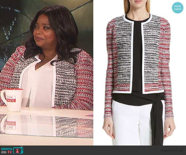 Amelia Knit Jacket by St John Collection worn by Octavia Spencer on The Talk